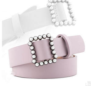 Jeans Dress Buckle Decorative-Belt Square Wild-High-End-Accessories Pearl Japanese New-Fashion