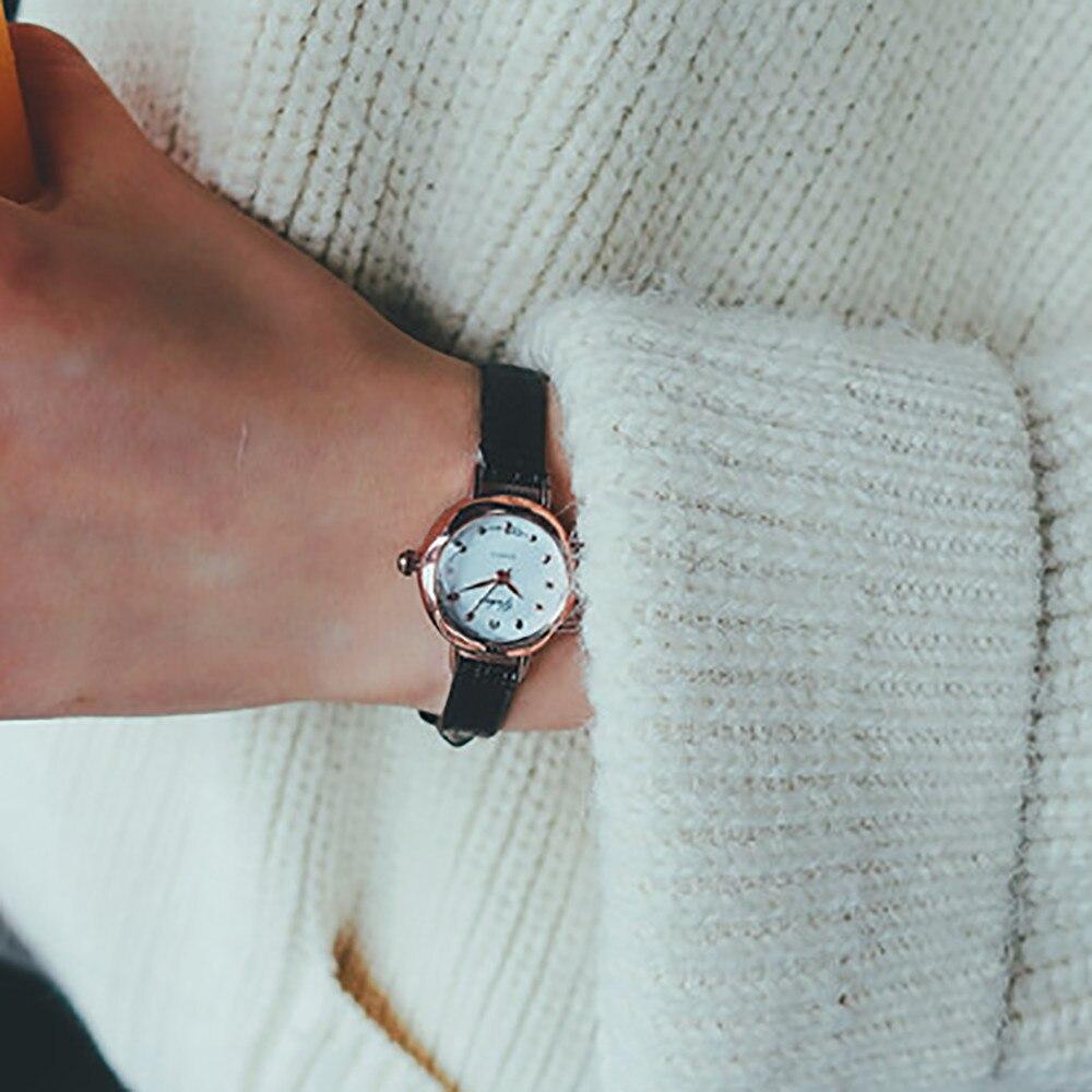 Casual feminino quartzo analógico pequeno dial delicado relógio senhoras moda negócios relógios de pulso de couro presentes relojes para mujer 4