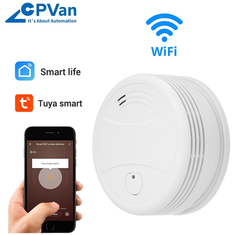 CPVan WiFi Smoke Detector Fire Sensor Tuya APP Smart Life APP Smoke Alarm Smoke Sensor Home Security Detector Smoke With Battery