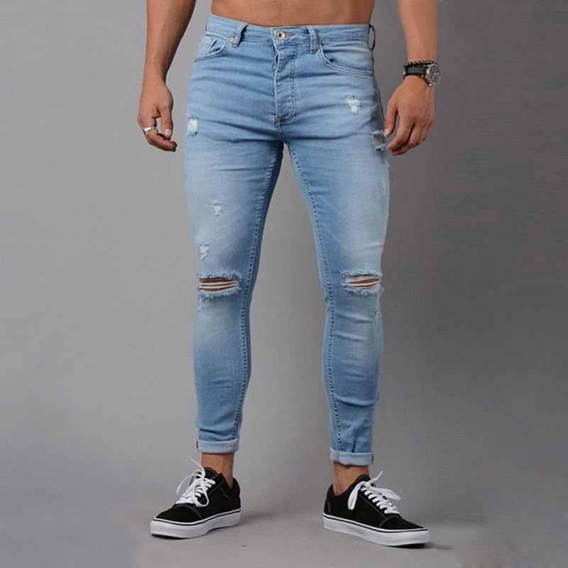 NIBESSER 2019 Fashion Casual Mens Skinny Stretch Denim Broek Verontruste Ripped Freyed Slim Fit Jeans Broek Voor Mannelijke Broek Z35