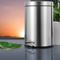 7L Bathroom Trash Can Round Step Foot Pedal Dustbin Bucket with Lid Mini Desktop Toilet Kitchen Car Bucket Garbage Can|Waste Bins|   -