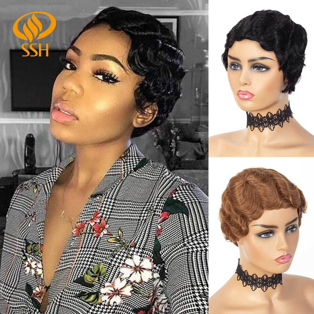 Short Finger Wave Cheap Wigs For Women Remy Real Hair Pixie Cut