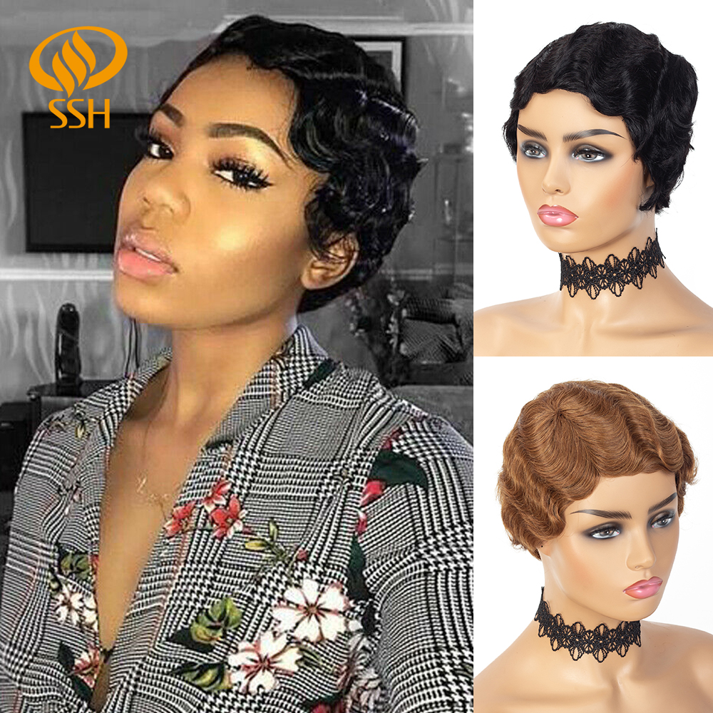 Short Finger Wave Cheap Wigs For Women Remy Real Hair Pixie Cut Wig Short Human Hair Wigs Mix Color 1B,2# 27# 99J#