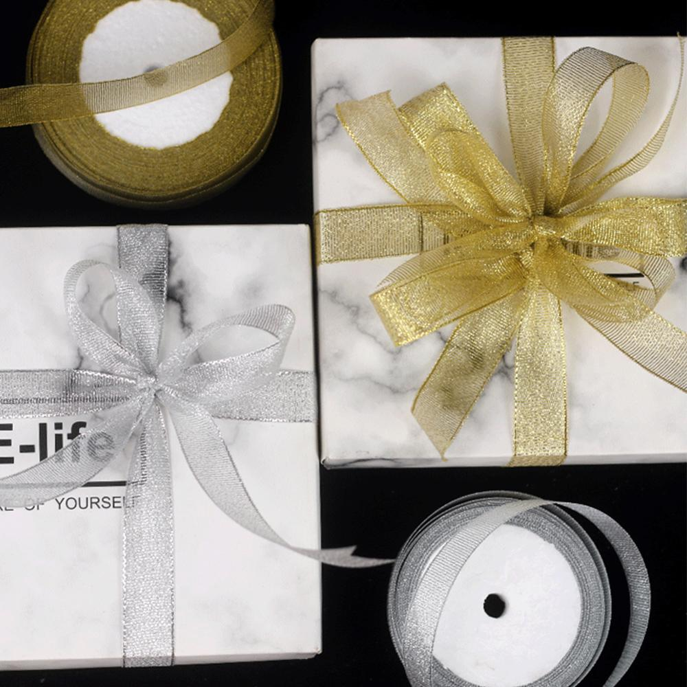100 Yard Metallic Glitter Ribbon 2CM Ribbon Organza Ribbon Trim for Crafters Wedding Christmas Gift Wrap Card Making Hair Bows Floral Projects Gold+Silver 2 rolls