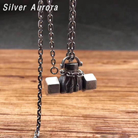Creative Pendant 100% 925 Sterling Silver Jewelry Men Women Fitness Dumbbell Necklace Pendant Jewelry Christmas Gift