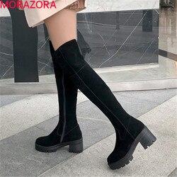 MORAZORA, novedad de invierno de 2020, botas sólidas por encima de la rodilla, botas gruesas de tacón alto con punta redonda, botas de mujer que mantienen el calor