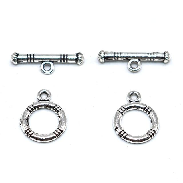 10 ensembles fermoir filetage Bracelet en métal Antique argent plaqué fermoirs à bascule crochets OT bascule fermoir attache bijoux résultats