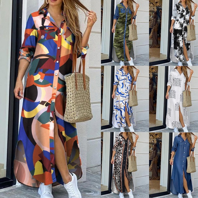 Maxi Beach Dress Elegant Women Button Long Shirt Dress Summer Split Print Lapel Neck Party Dress Long Sleeve Checked Plaid Robe 4