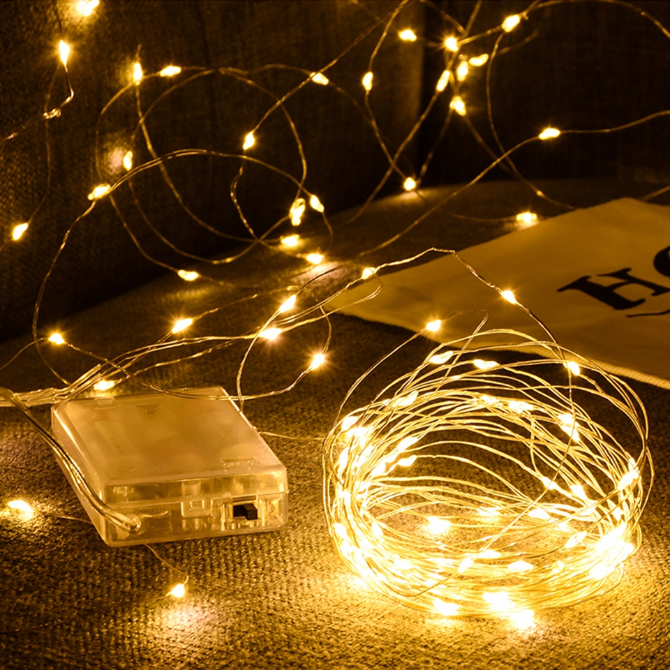 2M 5M 10M  AA Battery Powered LED Strip String Lights Fairy Lights Lamp For Garland Christmas Holiday Wedding Party Decoration