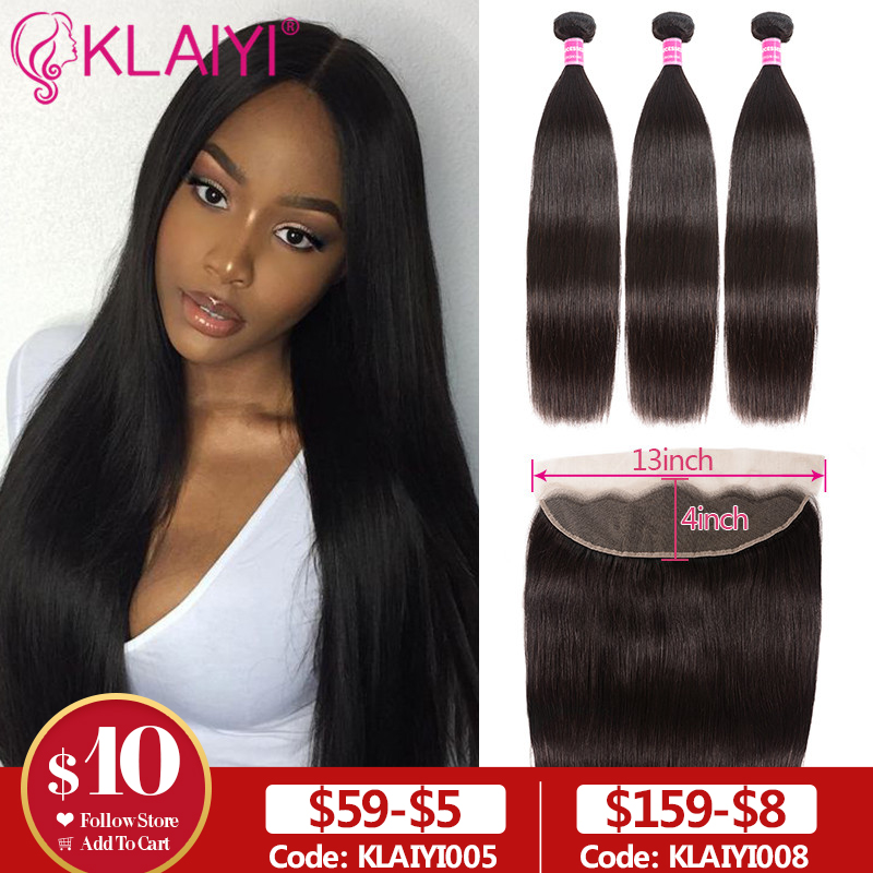 Klaiyi Peruvian Straight Hair 13*4 Lace Frontal Closure With Bundles Remy Human Hair 3 Bundles With Frontal Closure