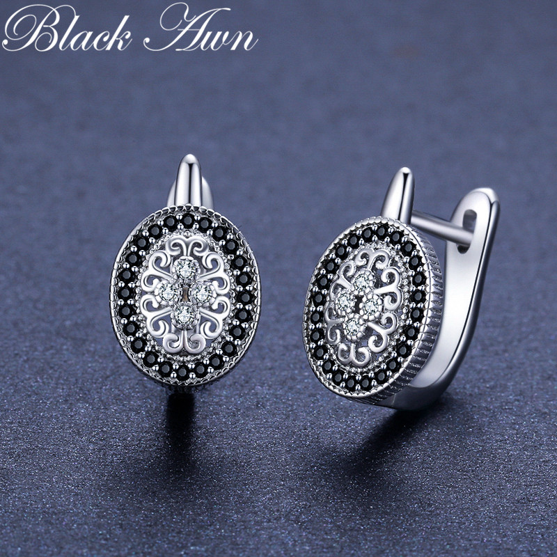 Black Awn 2020 Classic 925 Sterling Silver Round Black Trendy Spinel Engagement Hoop Earrings for Women Fine Jewelry Bijoux I149 3