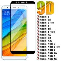 9D completa vidrio templado para Xiaomi Redmi Pro 6A 5 Plus 5A 4X S2 ir K20 de Redmi Note 6 5 5A 4 4X Pro película protectora de pantalla