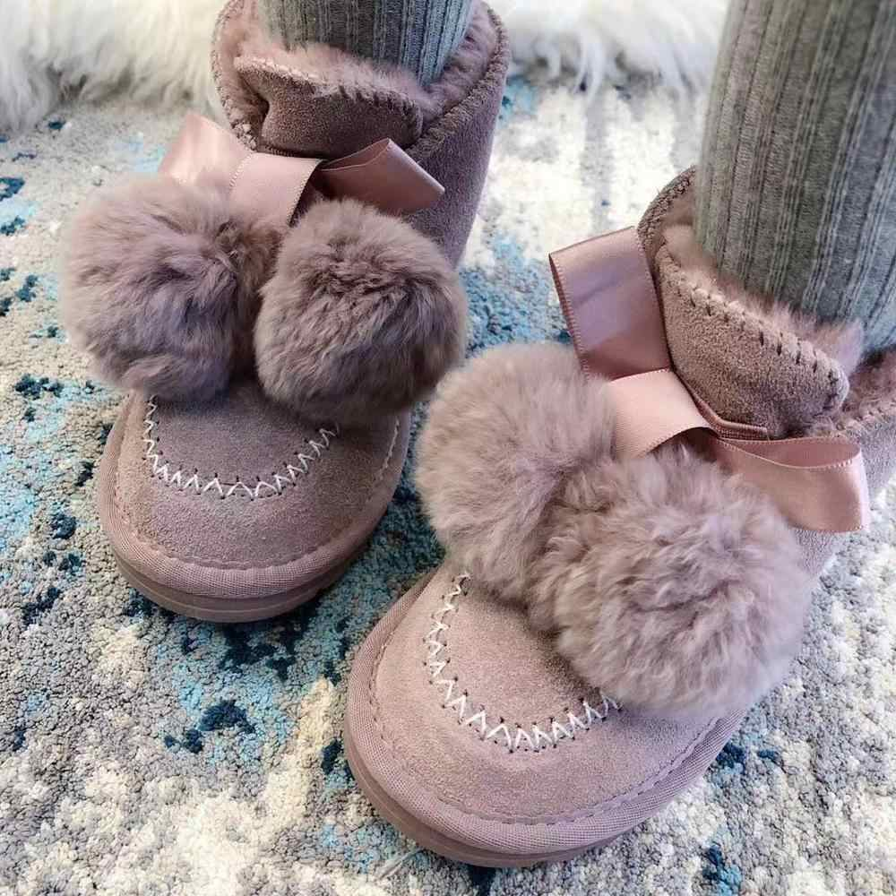Kids Snow Boots with Fur Ball Girls Cute 2019 Winter Shoes Children Genuine Cow Leather Botas Waterproof Foot Wear