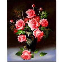 RIHE Exquisite Rose Flowers-Framed Oil Painting By Numbers, Coloring By Numbers, Modern Wall Art Picture,Home Decoration 40x50cm rihe exquisite rose flowers framed oil painting by numbers coloring by numbers modern wall art picture home decoration 40x50cm