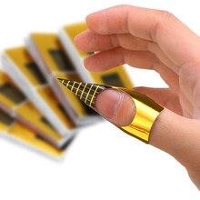 100 peças bandeja de papel de arte do prego cristal fototerapia formas de unhas extensão ouro retangular auto-adesivo adesivo manicure ferramentas