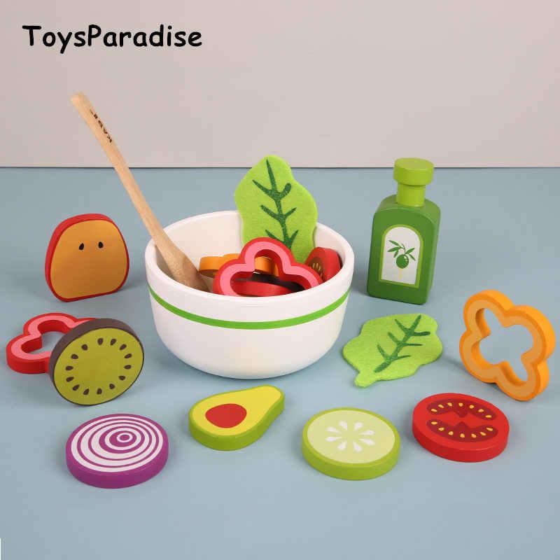 Neue Ankunft Baby Simulation Obst Und Gemüse Salat Holz Spielzeug Für Kinder Salat Lebensmittel Küche Spielzeug Pädagogisches Geburtstag Geschenk