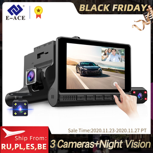 E-ACE Car DVRs Dash Cam 4.0 Inch Touch Screen 3 Cameras Lens Video Recorder With Rearview Camera Auto Registrator Dash Camera