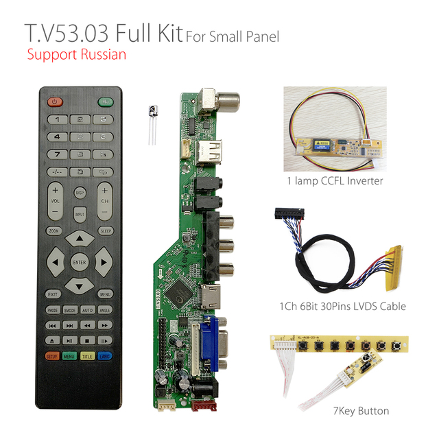 T.V53.03 범용 LCD LED TV 컨트롤러 드라이버 보드 TV/PC/VGA/HDMI/USB + 7 키 + 1ch 6bit LVDS 케이블 + 1 램프 인버터 러시아어 skr