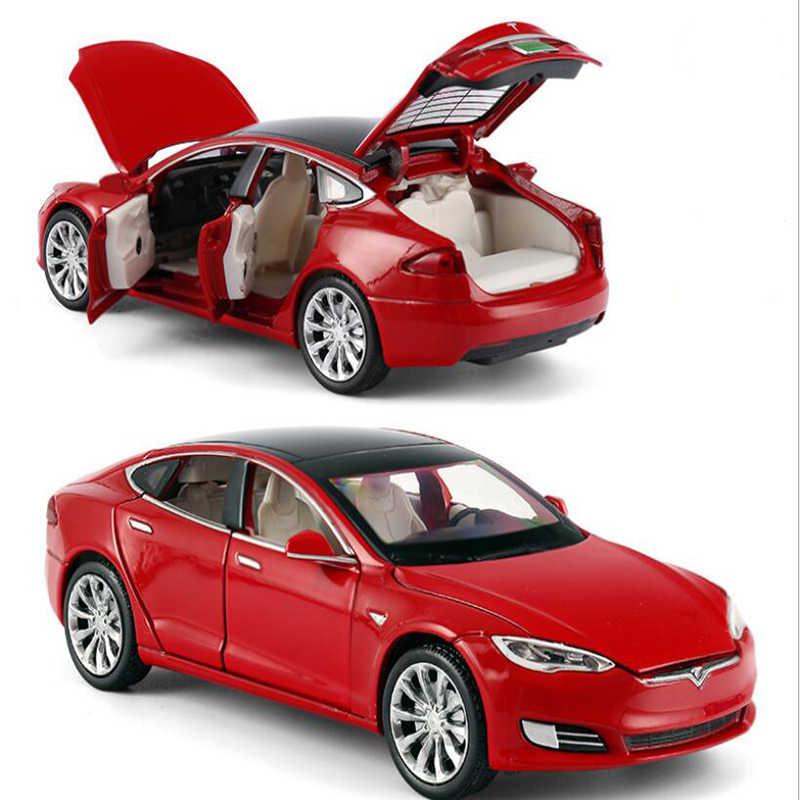 Auto in lega di Nuovo Tesla Model S P100D 1: 32 dimensioni In Metallo Modello di Auto Sei-Porta di Suono E Luce Tirare Indietro Giocattolo Auto Regalo Trasporto Libero