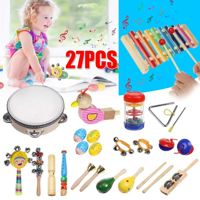 Kids Baby Toddler Sound Musical Toys Children's Educational Toy Wooden Xylophone Percussion Musical Instrument With Storage Bag 1