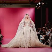 분리형 기차와 럭셔리 반짝이 웨딩 드레스 이슬람 아랍어 인어 신부 가운 2020 couture 긴 소매 신부 드레스