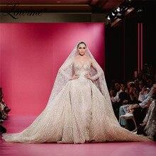 ラグジュアリーグリッターのウェディングドレスで列車イスラム教徒アラビアマーメイドブライダルドレス 2020 クチュール袖花嫁のドレス