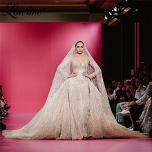 Luxury Glitter Wedding Dresses With Detachable Train Muslim Arabic Mermaid Bridal Gowns 2020 Couture Long Sleeves Bride Dresses
