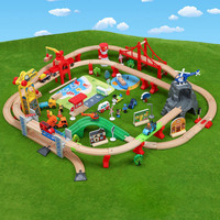 Wooden Train Track Set Wooden Railway In Puzzle With Tracks Transit Wooden Railway Model Accessories Toys Trains For Kids Gifts