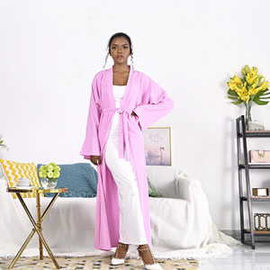 Muslim Open Abaya Silky Maxi Dress Syari Female Cardigan Kimono Long Robe Gowns Jubah Middle East Eid Ramadan Islamic