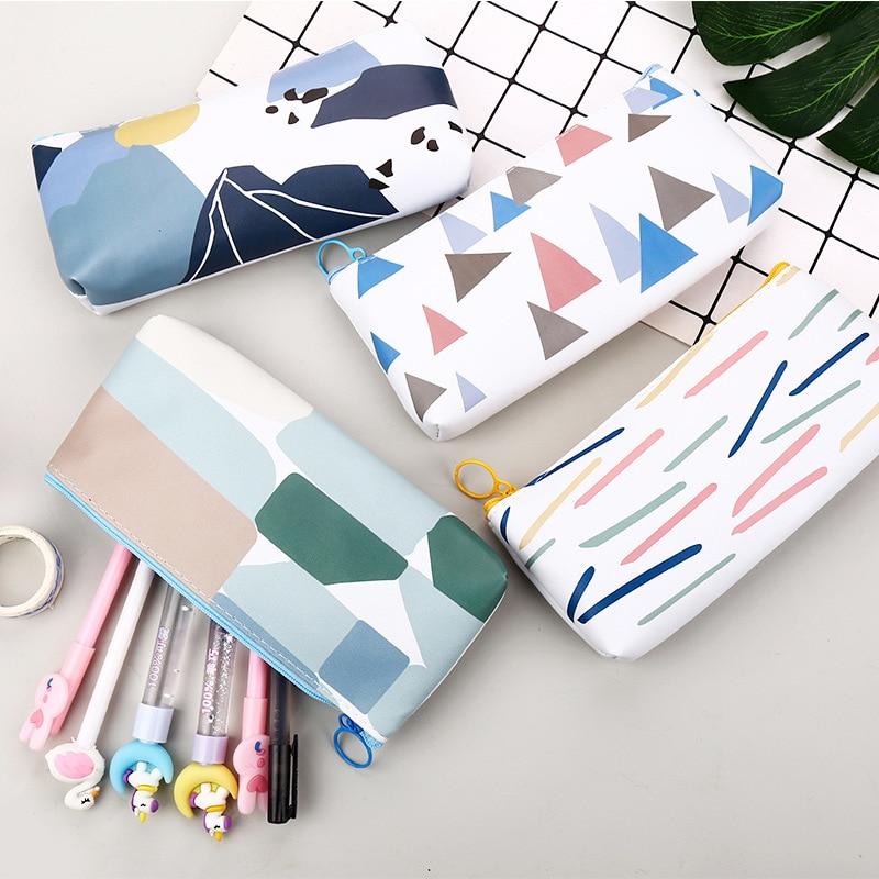 Sample Geometric School Pencil Case Cute PU Leather Pencil Bag Stationery Pen Pouch Office School Supply Canetas Zakka