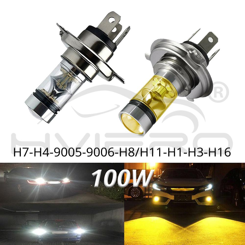 1Pcs Car Led Fog Light 100W H1 H3 H4 H7 9005 H8 8000K Headlight White Light Fog Lamp Bulb Plug Play Fog Bulb Direct Replaceme