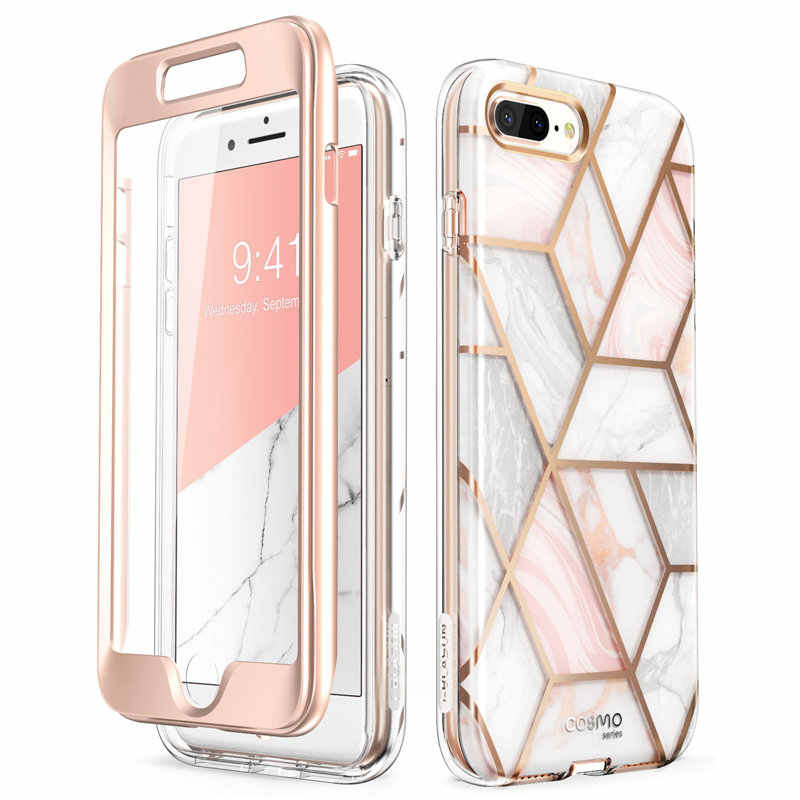 I-BLASON untuk iPhone 7 Plus/8 PLUS Case 5.5 Inci Cosmo Penuh Marmer Pink Bumper Case Cover dengan Built-In Screen Protector