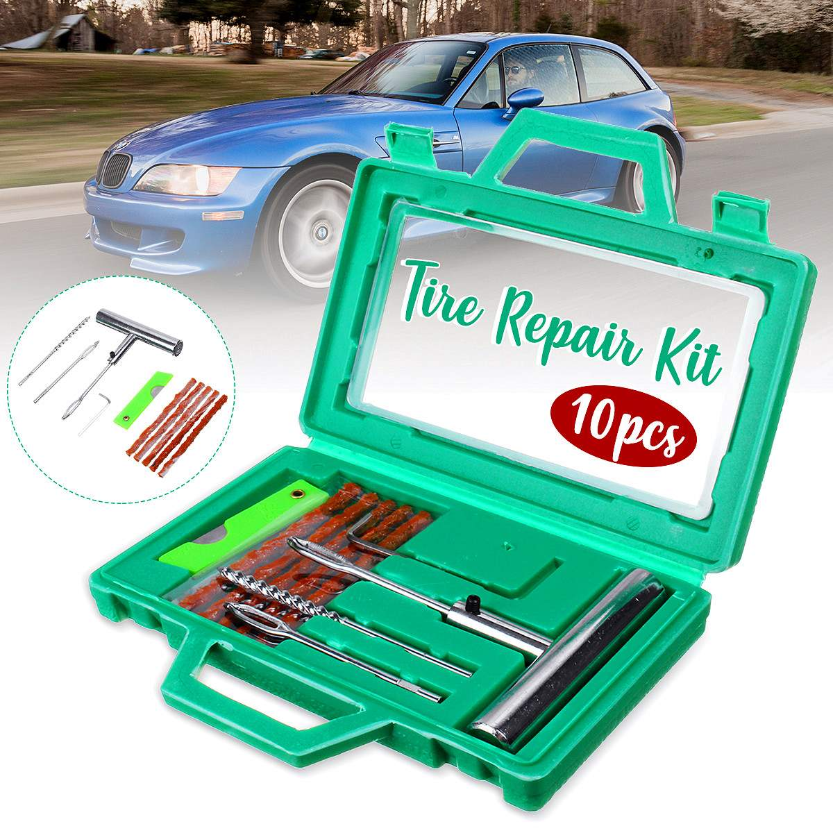 10Pcs Car Tire Repair Tools Kit Tire Repair Set Heavy Duty Tubeless Auto Motorcycle E Bike Tire Repair Tool Set Car Accessories