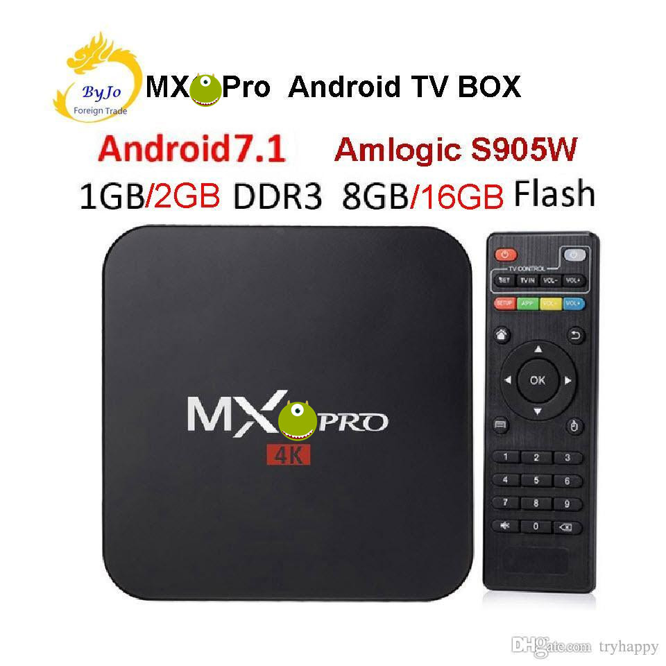 <font><b>MX</b></font> Pro 4K TV <font><b>Box</b></font> Amlogic S905W Quad Core 1G 8G or 2G 16G Android 7.1 Ultra 4K Streaming IPTV 4K <font><b>box</b></font> Smart TV Media Player Play image