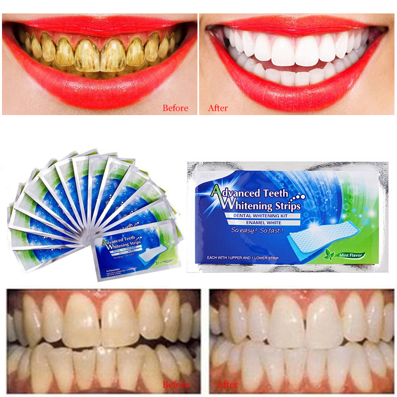 10Pcs/5Pair Teeth Whitening Strips Stain Removal For Oral Hygiene Clean Double Elastic Dental Bleaching Strip Tooth Care TSLM2