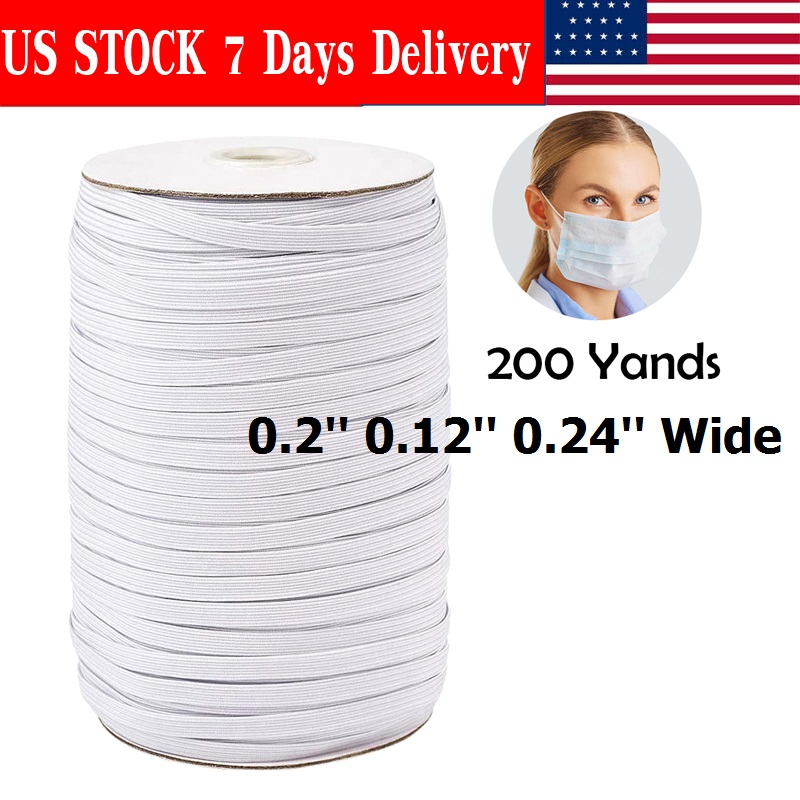 """200yds//Roll 1//8/"""" Flat Elastic Cords Knit Braided Sewing Bands Ropes White 3mm"""