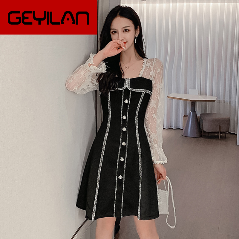 Korean Style Lace Patchwork Autumn Dress Women Slim Buttons Office Long Sleeve Dress Elegant Sweet OL Chic Black Robe Femme S-XL