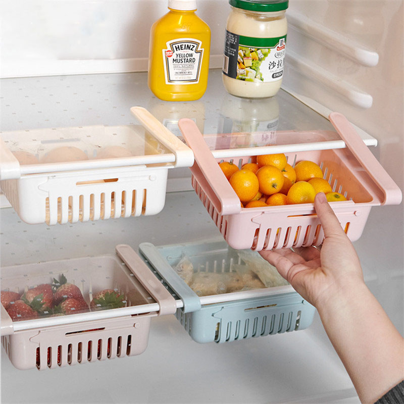 Refrigerator Storage Rack Pull-out Drawer Organiser Space Saver Kitchen Organizer Adjustable Kitchen Fridge Freezer Shelf Holder