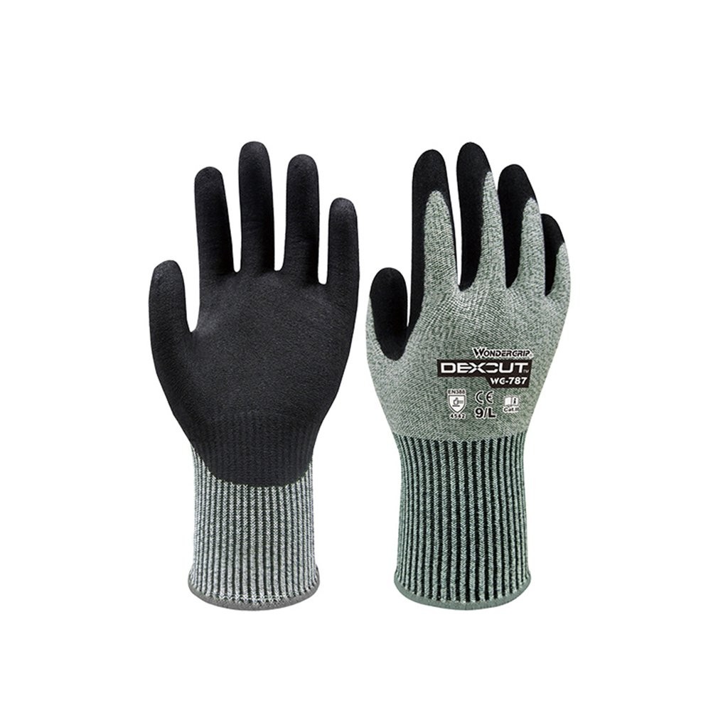 Duogeili Universial Five-level Anti-cutting Safety Gloves Nitrile Rubber Palm Sandy Dipped Cut Resistant HPPE Work Gloves