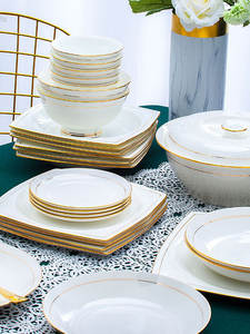 Tableware Dishes-Set Noodles-Bowl Jingdezhen-Ceramics European-Style Salad 60-Heads