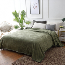 Simanfei Woolen Embossed Blankets Solid Color Coral Fleece Flannel Blanket Sofa Bed Office Air Single Double Soft
