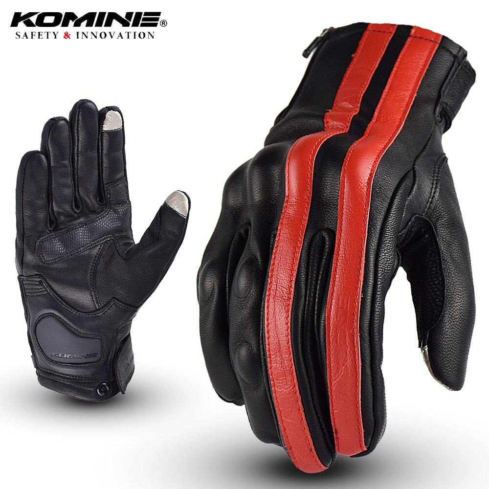 KOMINE hommes Moto gants en cuir rayure respirant Biker gants écran tactile Moto Motocross Moto course gants GK-119