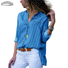 RONNYKISE Striped Shirts Womens Fashion Blouses Casual Solid Color Long Sleeve V-neck Ladies Tops Summer Autumn Female Clothes