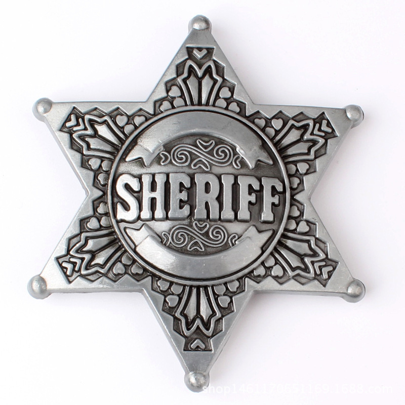 Sheriff Belt Buckle Homemade Handmade Belt Components Waistband DIY Western Cowboy Police