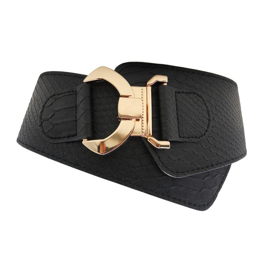 Women Wide Stretch Cinch Belt Waist Band Buckle Elastic Waistband Simple Pin Buckle Women's Quality Genuine Leather Belts