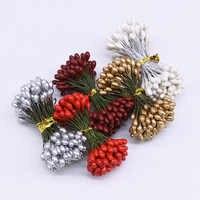 50 stücke 10mm Doppel Köpfe DIY Künstliche Mini Perle Blume Staubblatt stempel Floral Staubblatt DIY Scrapbooking Handwerk Für Hochzeit party