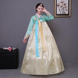 Image 4 - Cekinowy koreański tradycyjny strój hanbok kobieta Korea pałac kostium hanbok sukienka narodowa odzież do tańca na pokaz sceniczny 89