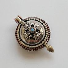 PN053 винтажный Тибетский медный счастливый Узел& Dorje буддистская молитва коробка кулон ожерелье ручной работы непальский 37 мм круглый Тибетский амулет
