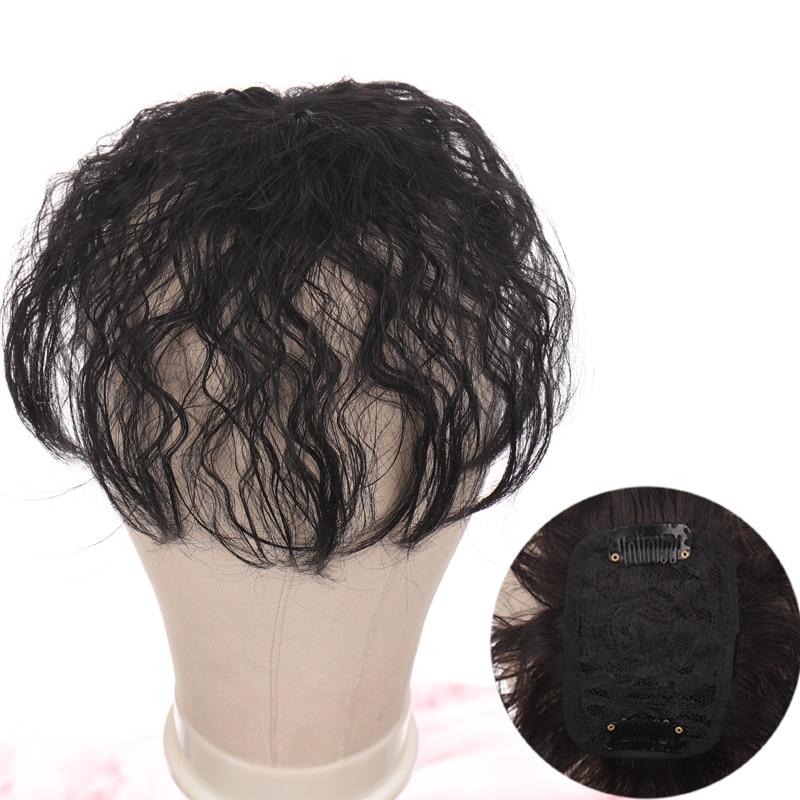 LANLAN Synthetic Hair Fringe Clip Bangs Water wavy Fake Hair Piece High Temperature Fiber Wig Bangs Clip on Hair Extension
