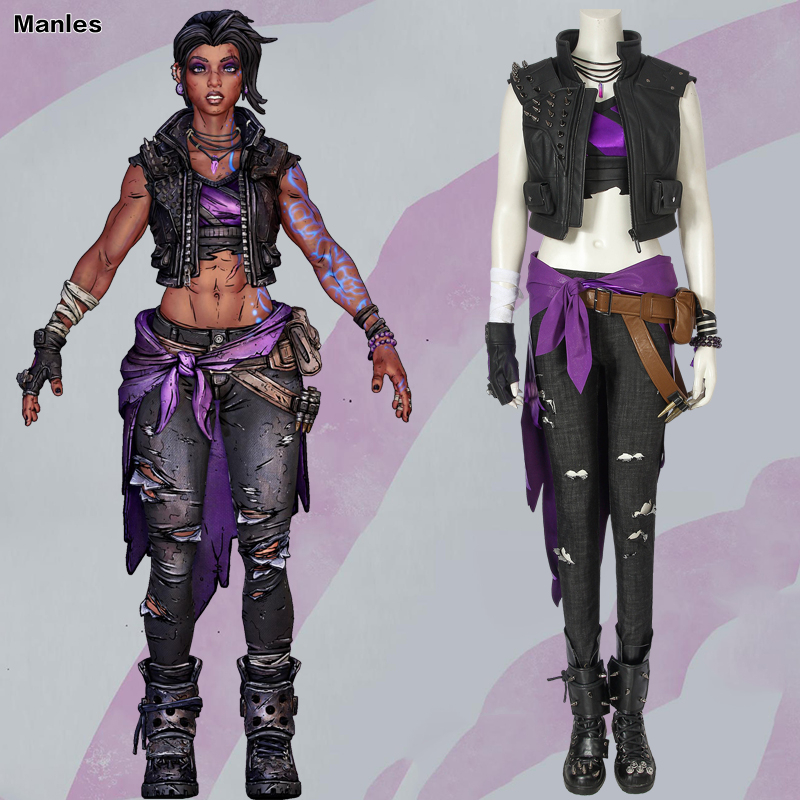 Game <font><b>Borderlands</b></font> 3 Cosplay <font><b>Borderlands</b></font> Amara <font><b>Costume</b></font> Shooting Game Coat Vest Boots Outfit Halloween <font><b>Costumes</b></font> For Women Custom image